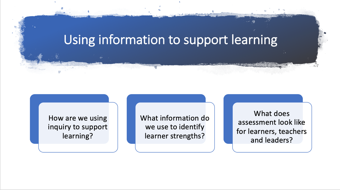 Using information to support learning